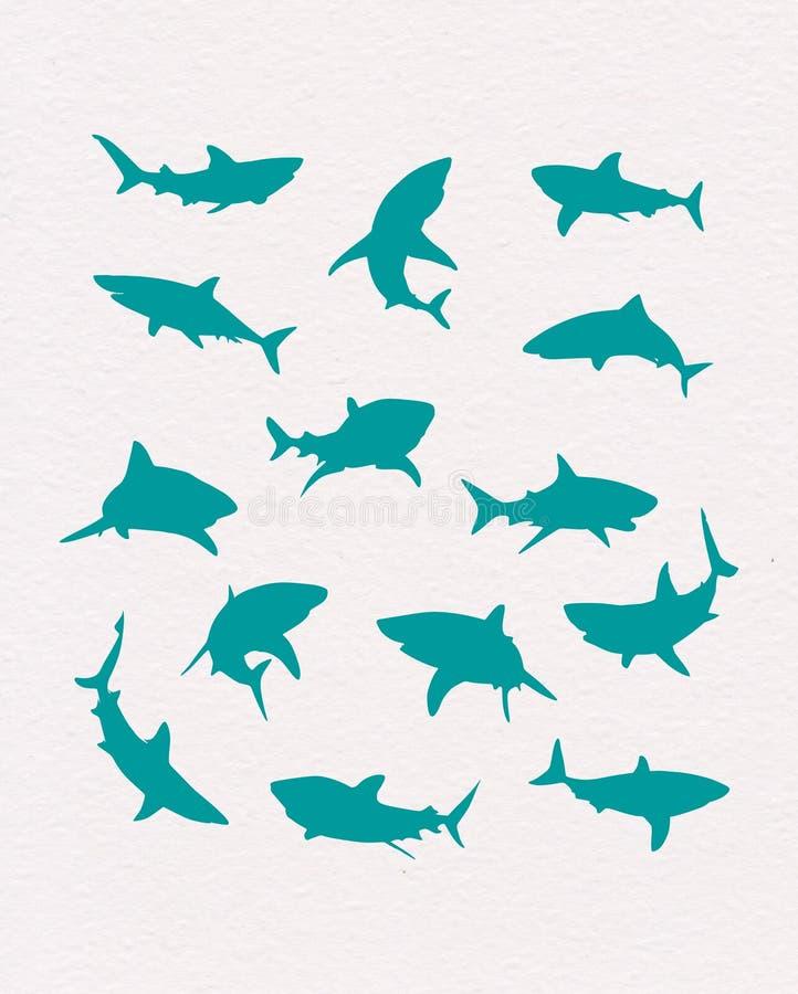 Wektorowe pociągany ręcznie błękitnych rekinów sylwetki ilustracji