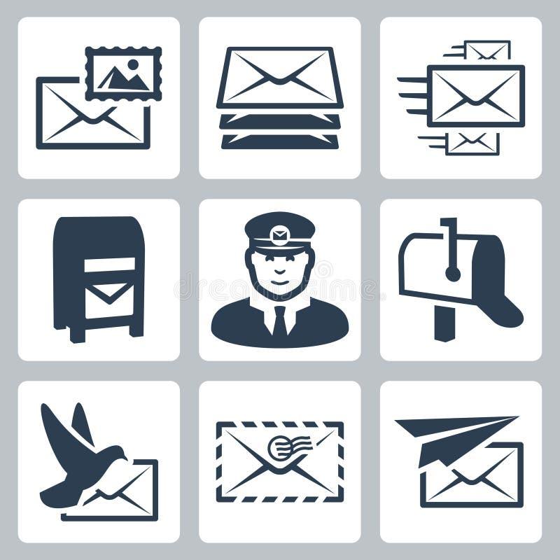 Wektorowe poczta usługa ikony ustawiać ilustracji