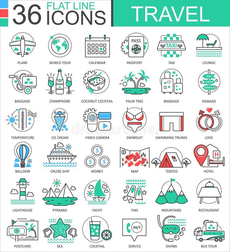 Wektorowe podróż koloru mieszkania linii konturu ikony dla apps i sieć projekta podróżne przygod ikony ilustracja wektor