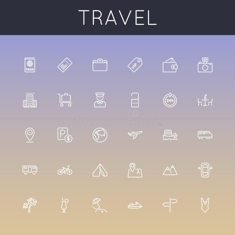 Wektorowe podróży linii ikony royalty ilustracja