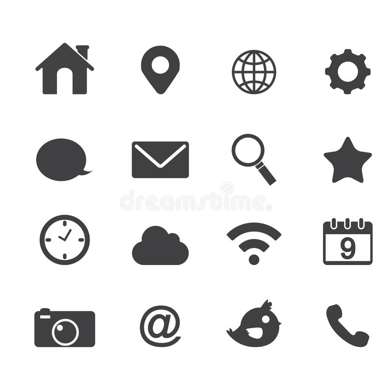 Wektorowe podstawowe podaniowe sieci ikony ilustracji