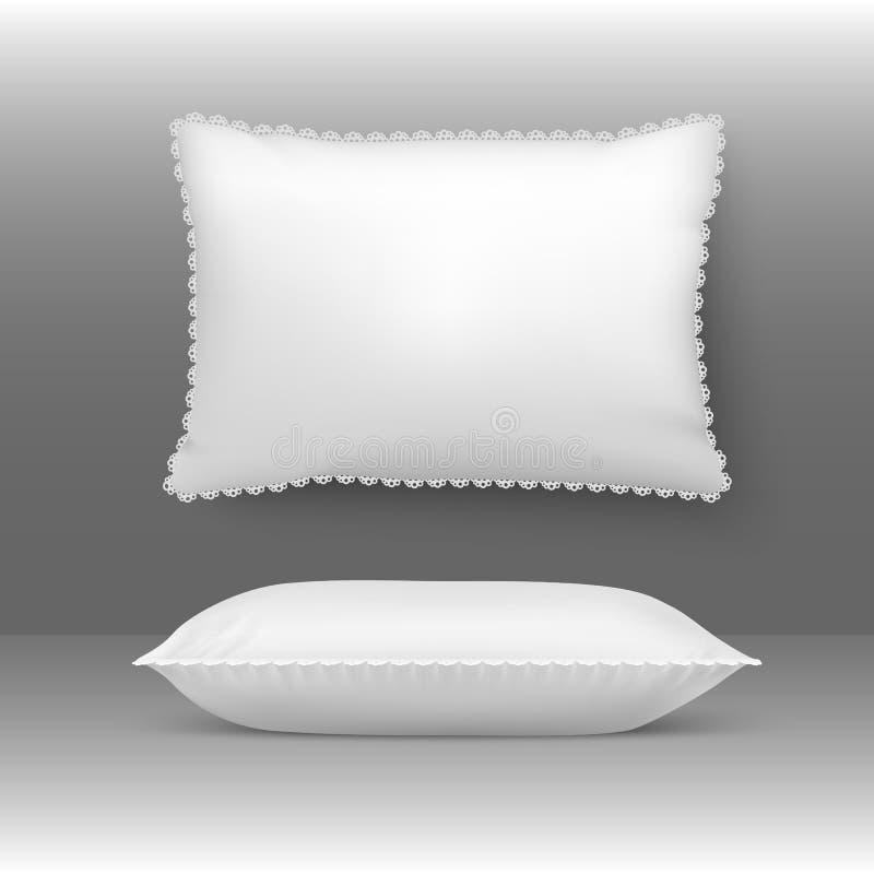 Wektorowe poduszki ilustracyjne Poduszkowy elegancki biały comforter podgłówek z naturą upierza Sypialna miękka pościel royalty ilustracja