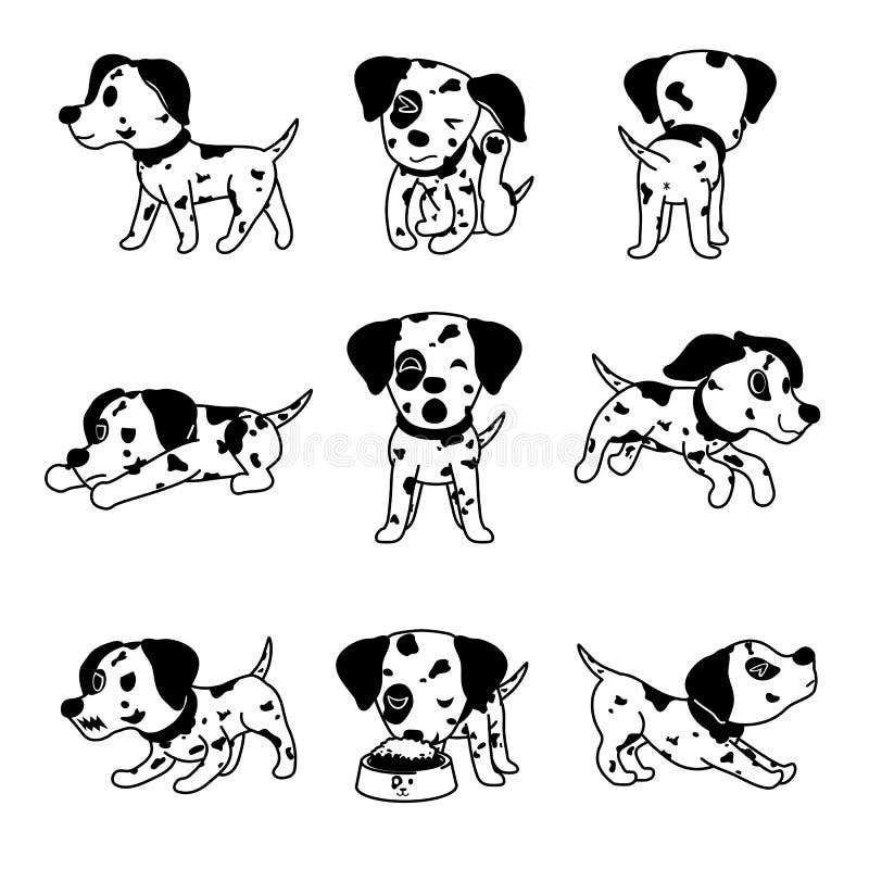 Wektorowe posta? z kresk?wki dalmatian psa pozy ilustracji