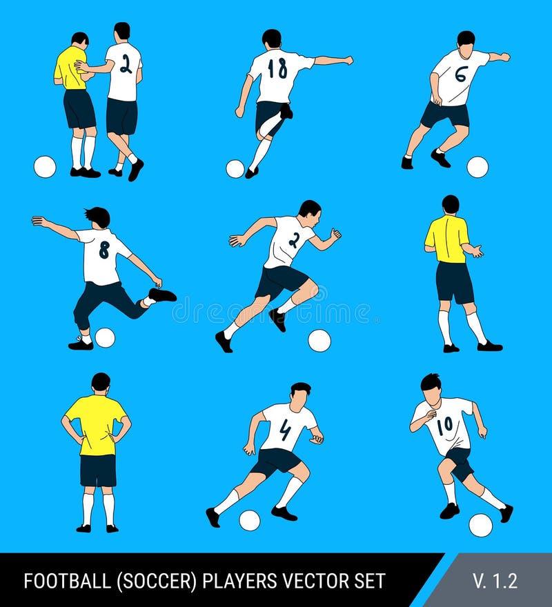 Wektorowe postacie gracz futbolu na jaskrawym błękitnym tle Sędzia i gracze, różne pozy, wektoru set Gracz futbolu royalty ilustracja