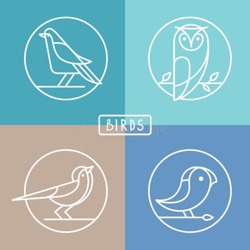 Wektorowe ptasie ikony w konturu stylu ilustracja wektor