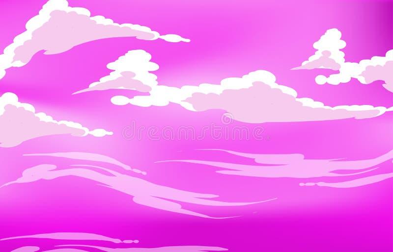 Wektorowe purpurowe niebo chmury Anime czysty styl royalty ilustracja