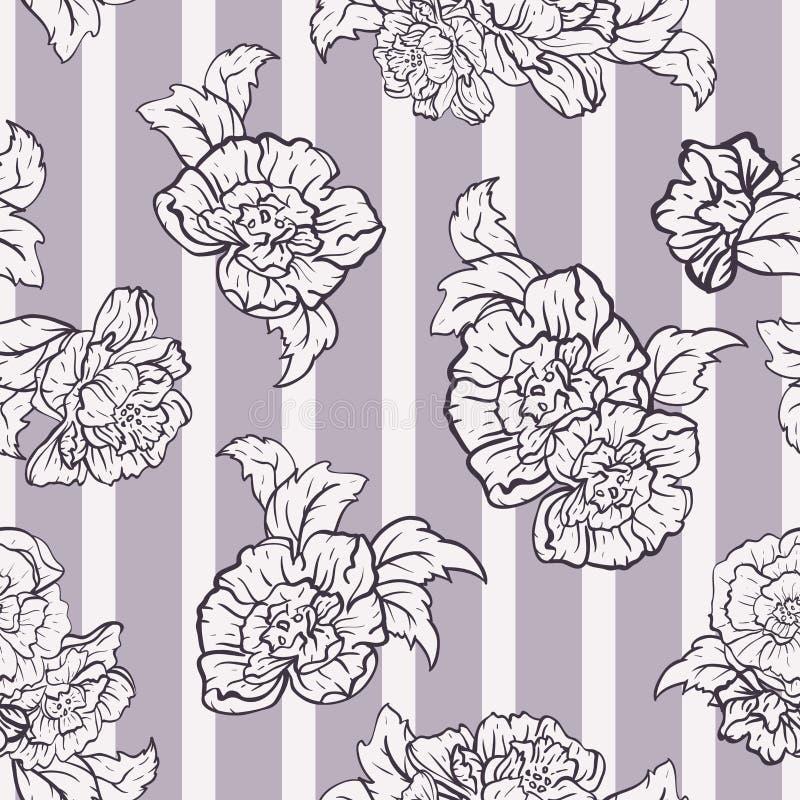 Wektorowe róże na Lawendowych lampasów bezszwowym deseniowym tle ilustracja wektor
