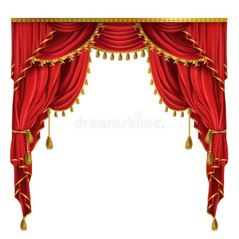 Wektorowe realistyczne luksusowe czerwone zasłony z draperią ilustracji