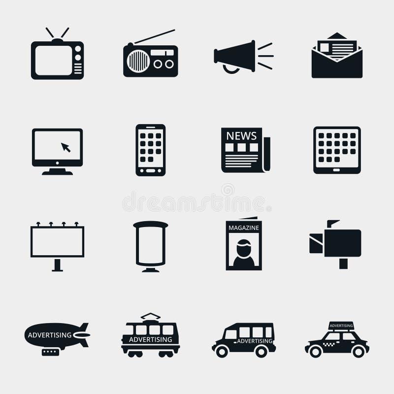 Wektorowe reklamowych środków sylwetki ikony ilustracji