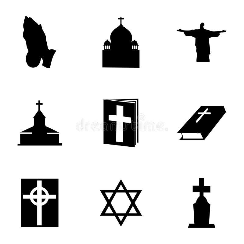 Wektorowe religii ikony ustawiać ilustracji