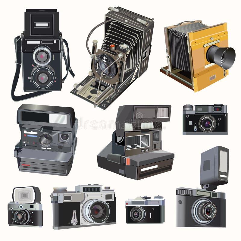 Wektorowe retro kamery na miękkiego światła tle royalty ilustracja