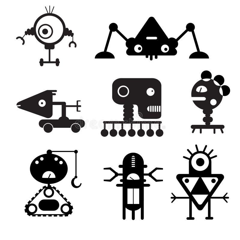 Wektorowe robot sylwetki - ilustracja obrazy stock