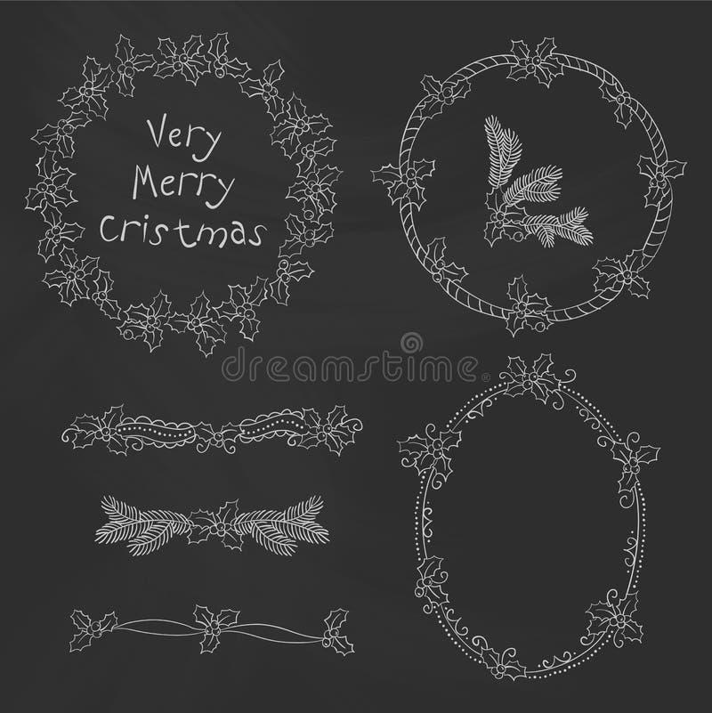 Wektorowe roczników bożych narodzeń doodle ramy, dividers Sezonowa ręka rysujący projektów elementy na czerni kredzie brudzą desk royalty ilustracja