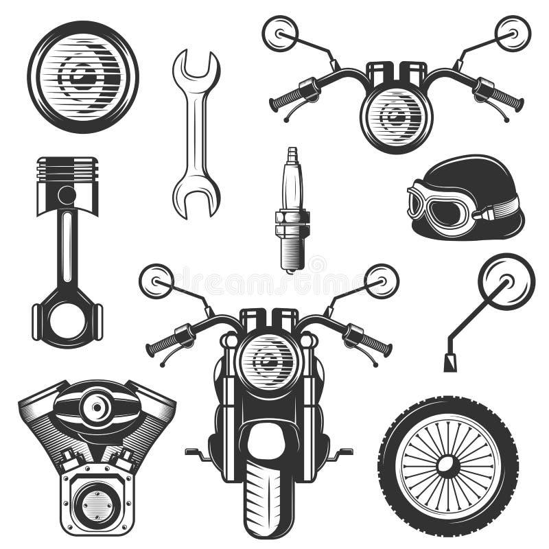 Wektorowe rocznika motocyklu ikony, symbole ustawiający ilustracji