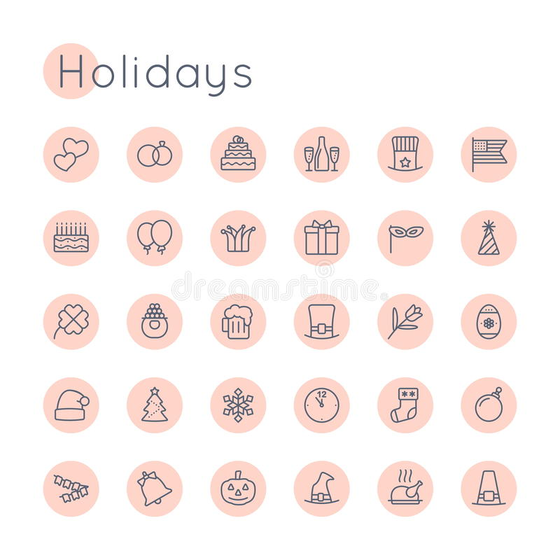 Wektorowe Round wakacje ikony royalty ilustracja