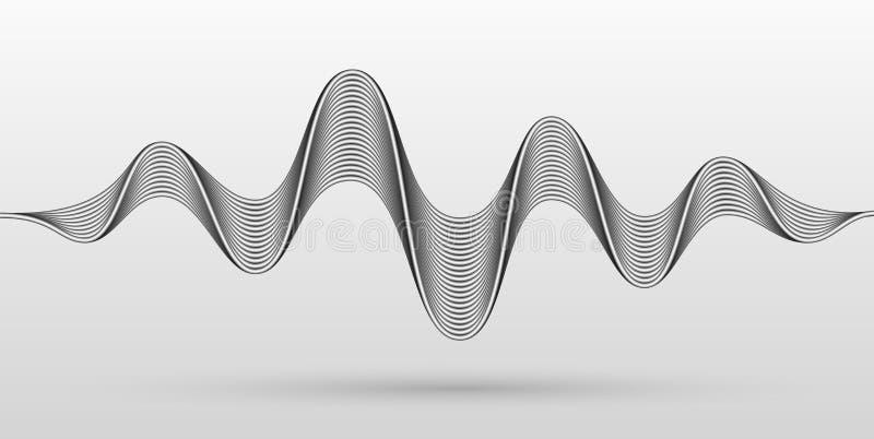 Wektorowe rozsądne fale stylizowali z bended kruszcowymi lampasami Dynamicznego wyrównywacza wizualny skutek ilustracji