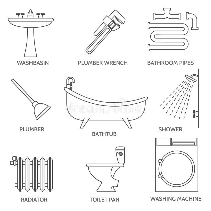 Wektorowe rurociąg instalaci wodnokanalizacyjnej ikony w cienkim kreskowym stylu royalty ilustracja