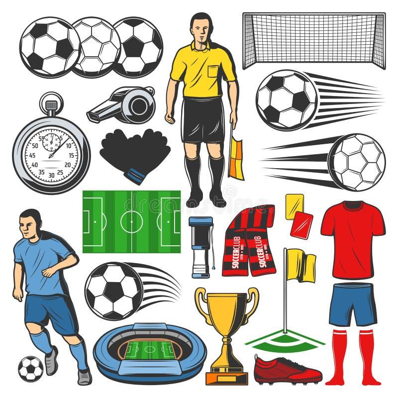 Wektorowe rzeczy futbolu lub piłki nożnej sport ilustracja wektor