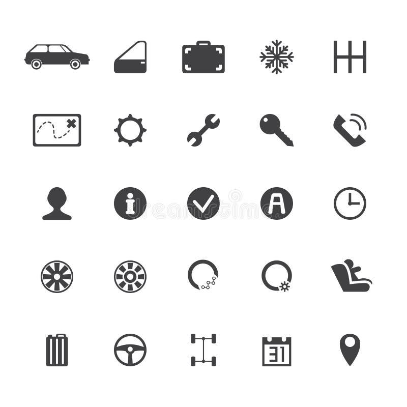 Wektorowe samochodowego wynajem ikony ilustracja wektor