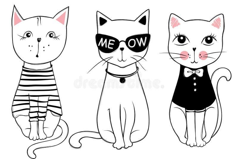 Wektorowe serie z ślicznymi moda kotami Elegancki figlarka set ilustracja wektor