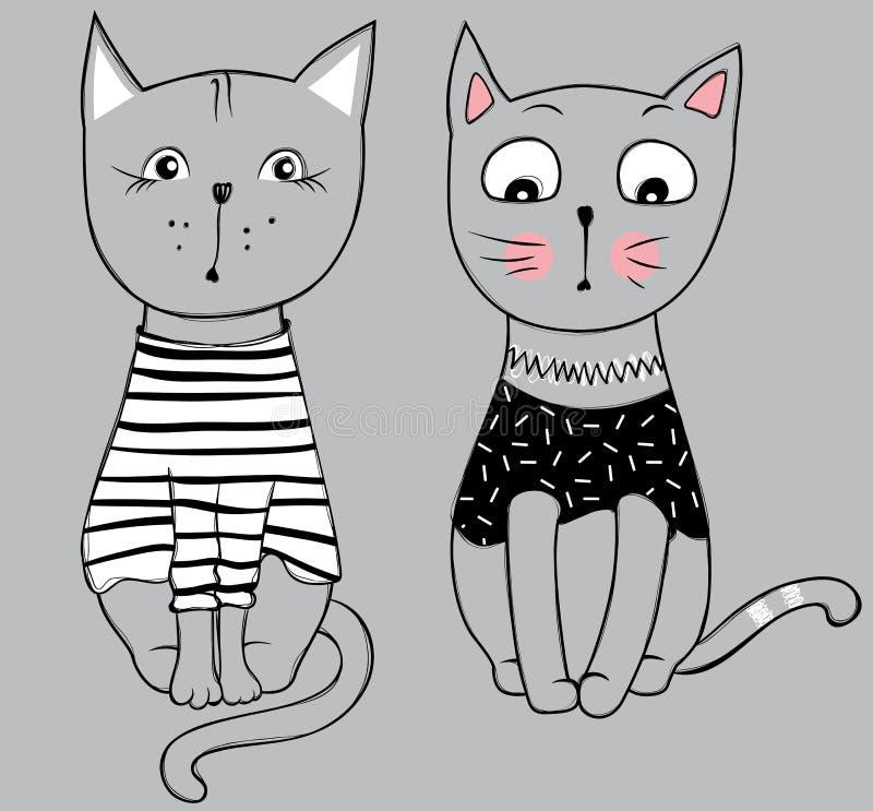 Wektorowe serie z ślicznymi moda kotami Elegancki figlarka set ilustracji