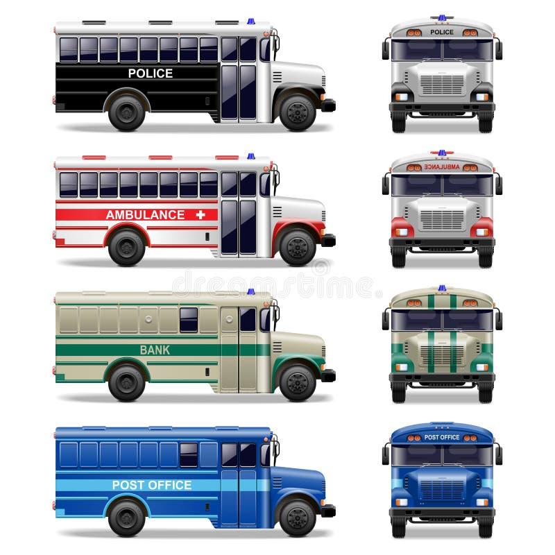 Wektorowe specjalne autobusowe ikony ilustracja wektor