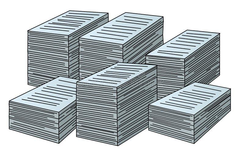 Wektorowe sterty papiery ilustracji