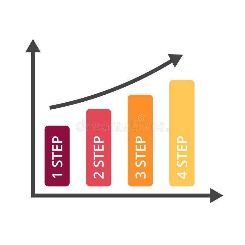 Wektorowe strzała infographic, diagram mapa, wykres prezentacja Biznesowy wzrostowy sukcesu pojęcie z 4 opcjami, części ilustracji