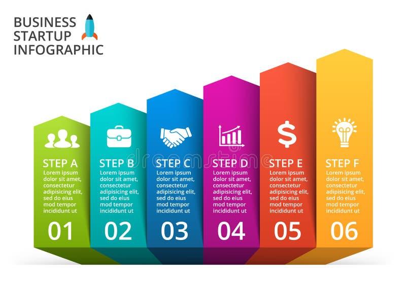 Wektorowe strzała infographic, diagram, wykres, prezentacja, mapa Biznesowy pojęcie z 6 opcjami, części, kroki, procesy royalty ilustracja