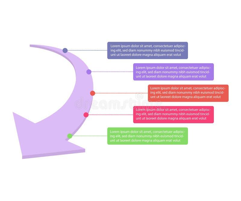 Wektorowe strza?a infographic Biznesowy poj?cie z opcjami, cz??ciami, krokami lub procesami 5, zdjęcia royalty free