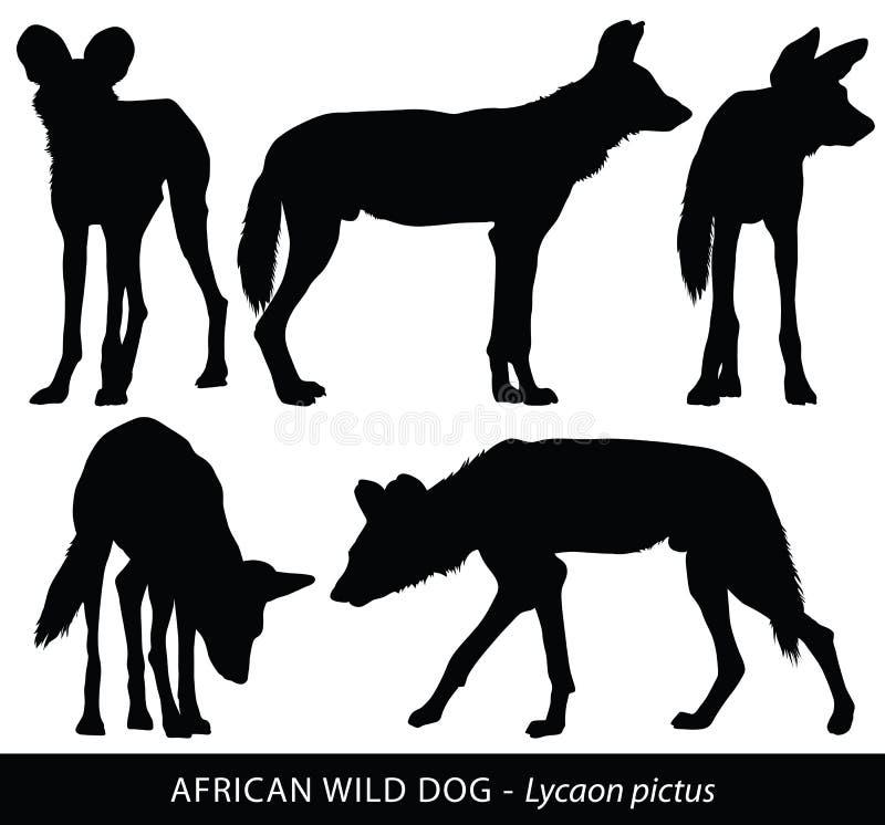 Wektorowe sylwetki Afrykańscy Dzicy psy ilustracja wektor