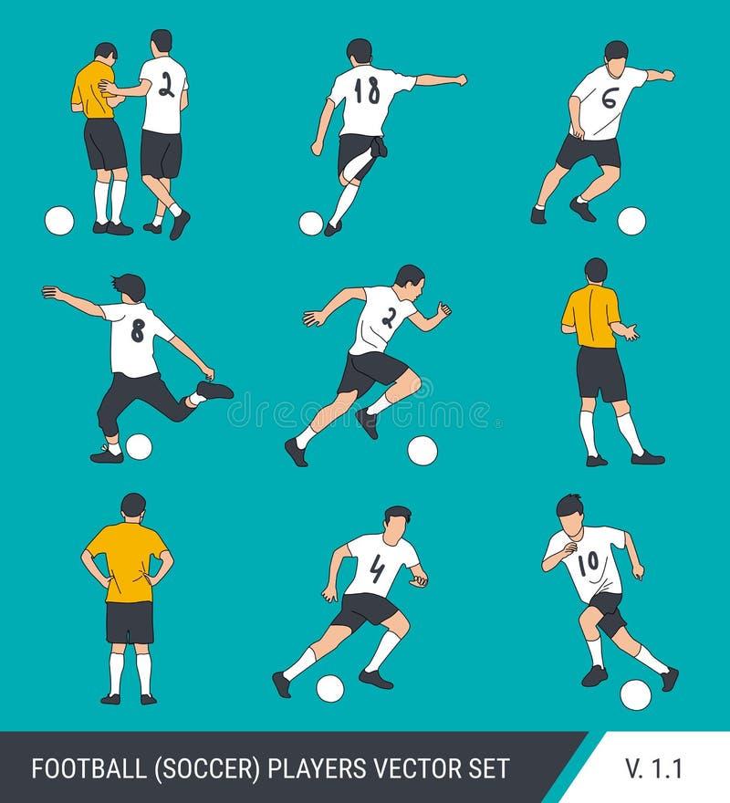 Wektorowe sylwetki gracz futbolu Grafika upraszczający styl Różne sylwetki gracz futbolu i futbolowy arbiter royalty ilustracja
