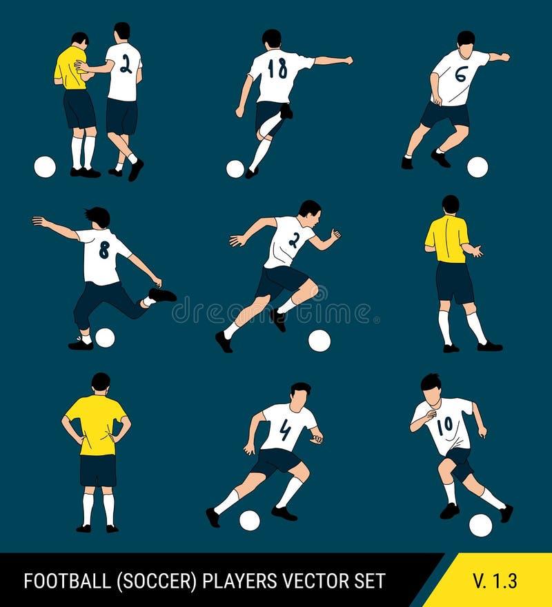 Wektorowe sylwetki gracz futbolu na ciemnym tle Grafika upraszczający styl Różne sylwetki gracz futbolu ilustracja wektor