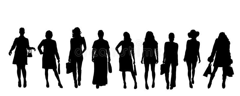Wektorowe sylwetki kobiety royalty ilustracja
