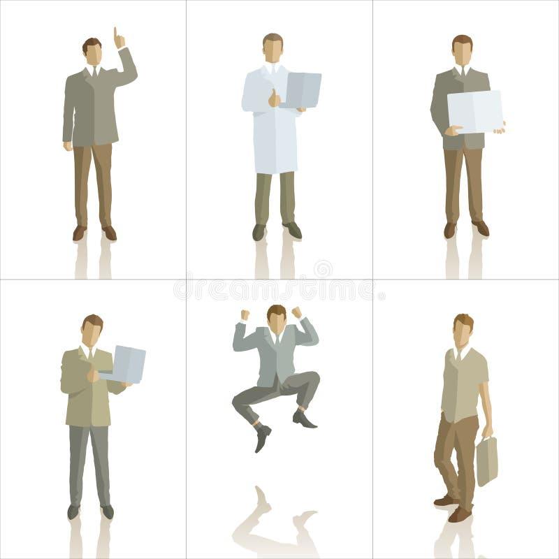 Wektorowe sylwetki ludzie biznesu kolorów ilustracji