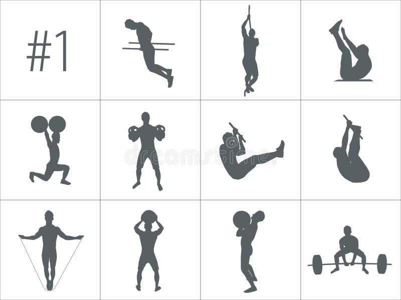 Wektorowe sylwetki ludzie robi sprawności fizycznej i crossfit treningom ilustracji