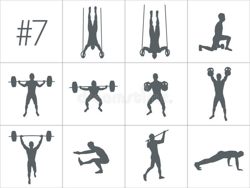 Wektorowe sylwetki ludzie robi sprawności fizycznej i crossfit treningom ilustracja wektor