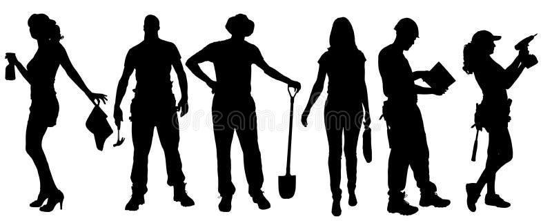 Wektorowe sylwetki różni ludzie ilustracja wektor