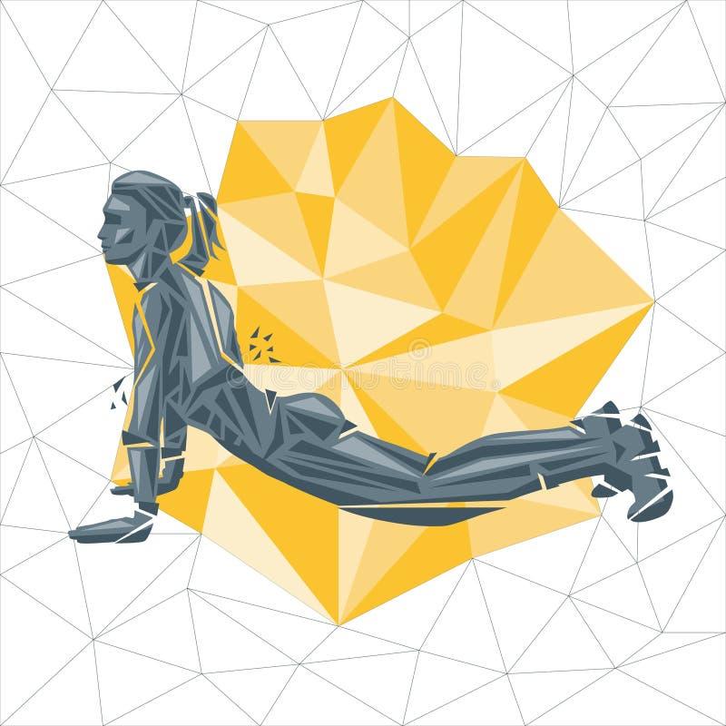 Wektorowe sylwetki robi sprawności fizycznej i crossfit treningom kobieta ilustracja wektor