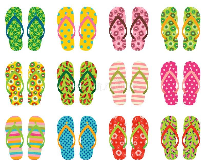 Wektorowe trzepnięcie klapy, plażowi sandały dla lata ilustracja wektor