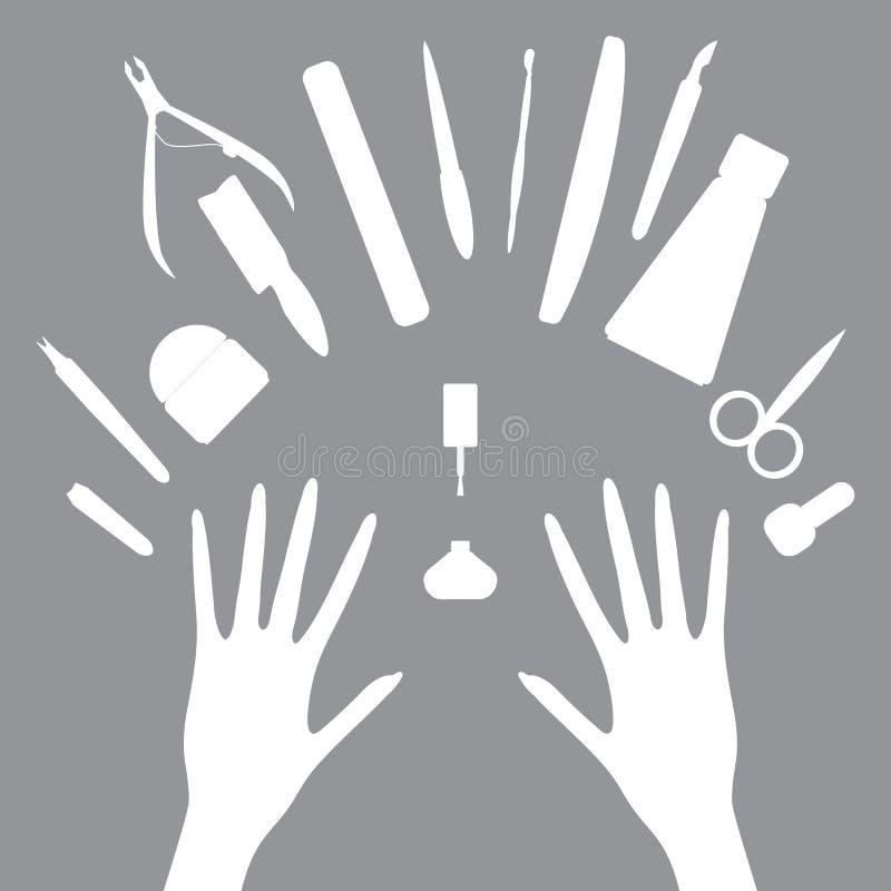 Wektorowe ustalone ikony manicure narzędzia ilustracja wektor