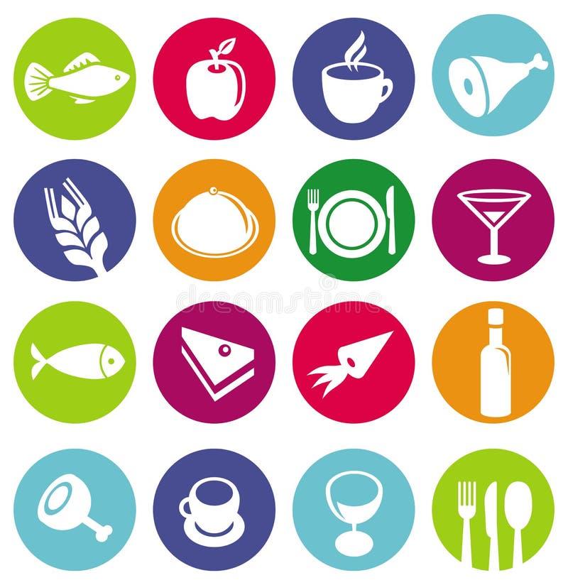 Wektorowe ustalone lub restauracyjne ikony i jedzenie ilustracja wektor