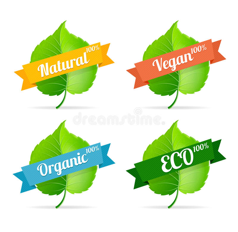 Wektorowe weganinu sklepu etykietki ustawiać royalty ilustracja