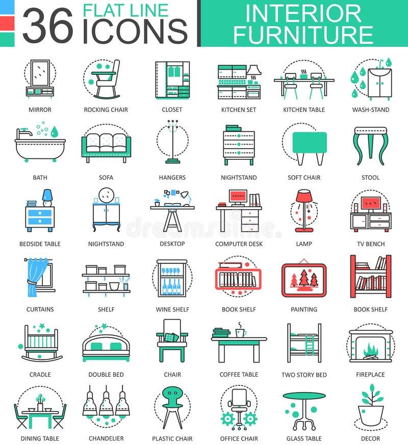 Wektorowe wewnętrzne Meblarskie mieszkanie linii konturu ikony dla apps i sieć projekta Meblarskie inkasowe ikony ilustracja wektor
