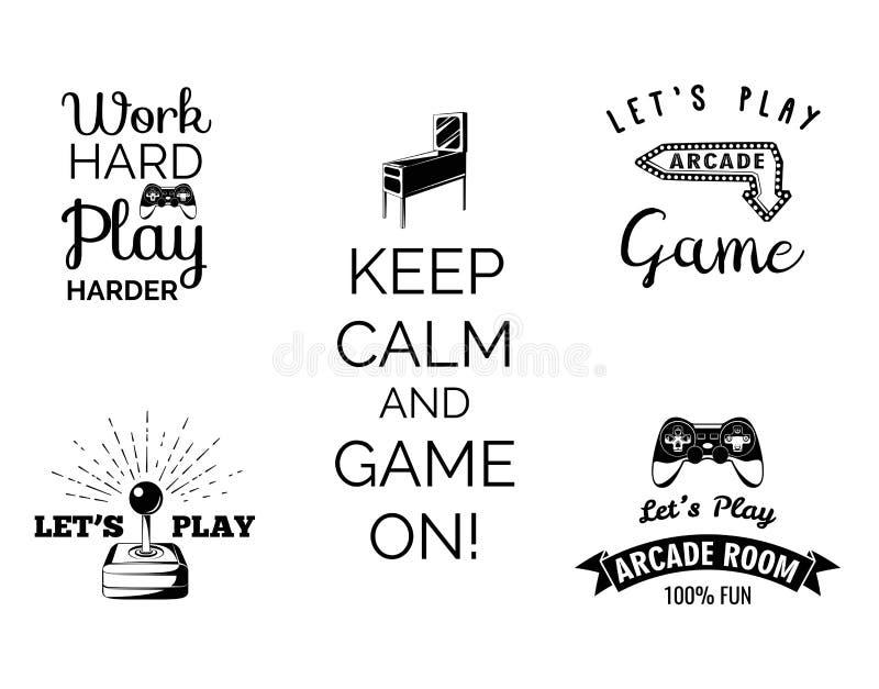 Wektorowe wideo gier etykietki ustawiać Arkada gemowy pokój Pozwala s sztuki gra wideo Gumowa maszyna gumball ilustracja wektor