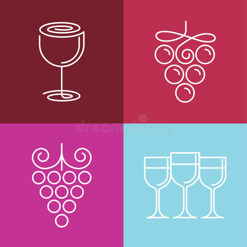 Wektorowe wino linii ikony i logowie ilustracja wektor