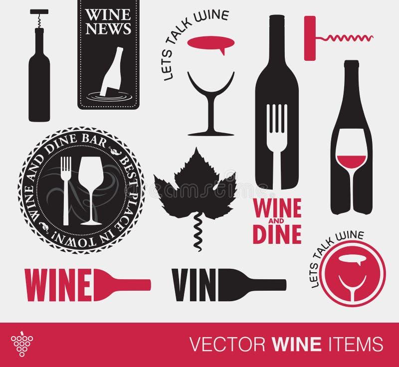 Wektorowe wino rzeczy royalty ilustracja