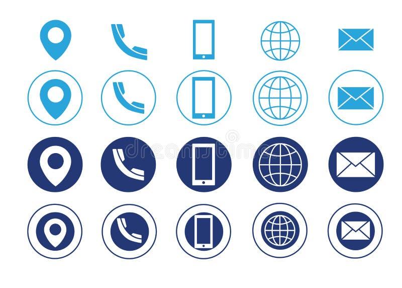 Wektorowe wizytówki kontaktowej informaci ikony ilustracja wektor