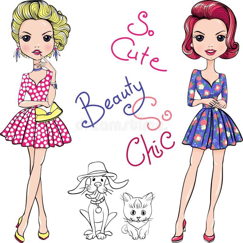 Wektorowe wystrzał sztuki mody śliczne dziewczyny z pies i kot ilustracja wektor