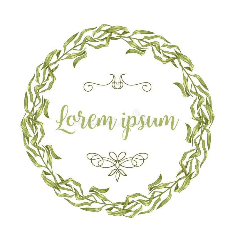 Wektorowe zaproszenie karty z ziołowymi gałązkami i ramami gałąź wianku i kąt granicy ilustracji